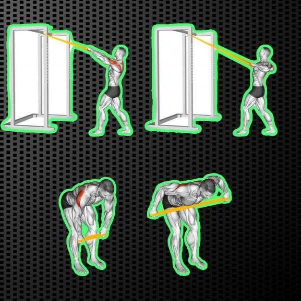 Exercice avec élastique dos