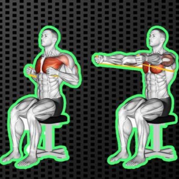 Exercice avec élastique pectoraux